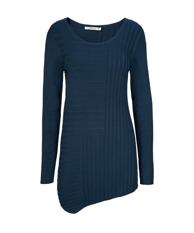 Mid Length Ribbed Pullover, Deep Teal, hi-res