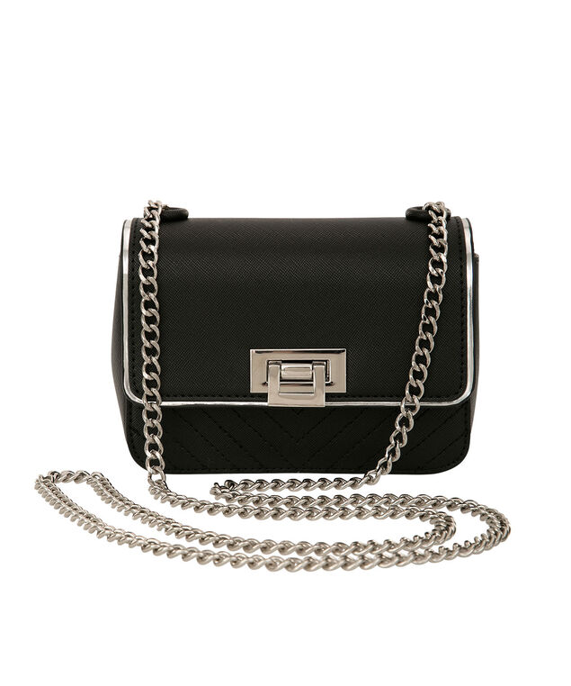 Small Cross Body Box Bag, Black/Silver, hi-res