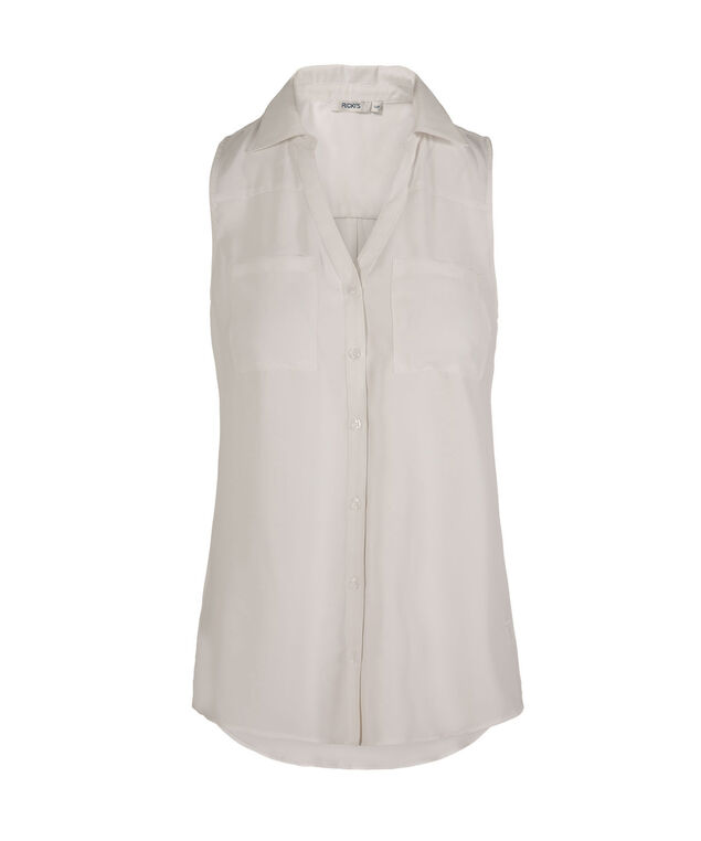 Sleeveless Collared Button-Front Shirt, True White, hi-res