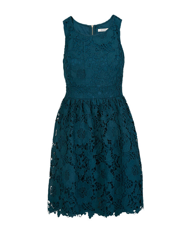 Crochet Lace Fit and Flare Dress, Midnight Teal, hi-res