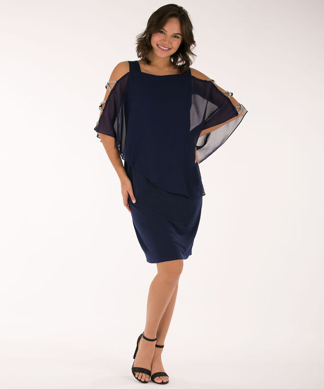 Cage Sleeve Cape Overlay Dress, Navy, hi-res