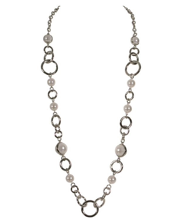 Pearl & O-Ring Long Necklace, White/Rhodium, hi-res