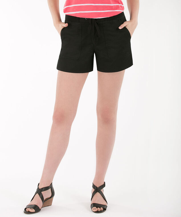 Knit Waistband Cotton Twill Shorts, Black, hi-res