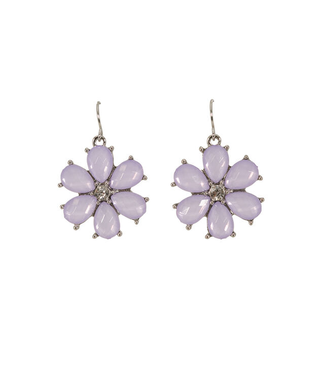 Flower Earrings, Lavender, hi-res