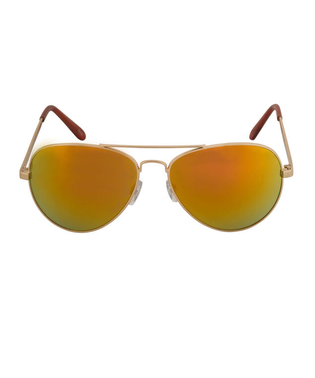 Mirrored Lens Aviator Sunglasses, Red/Gold, hi-res