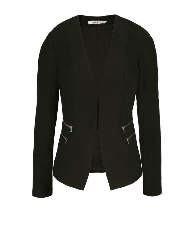 Zipper Detail Blazer, Black, hi-res