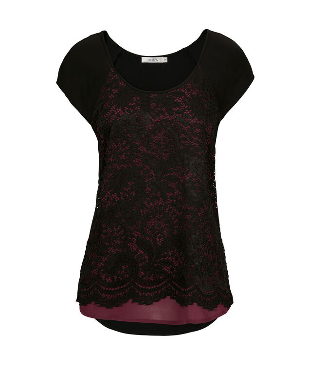 Short Sleeve Lace Tee, Mid Plum, hi-res