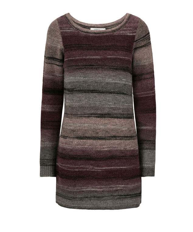 Striped Plush Tunic Sweater, Wineberry, hi-res