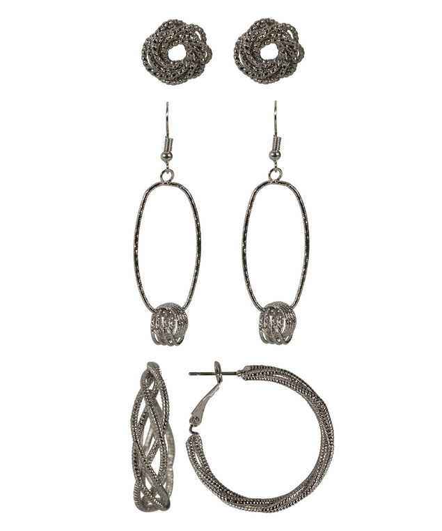 Twisted Circle Earring Set, Rhodium, hi-res