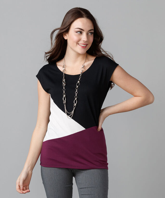 Extended Sleeve Scoop Neck Tee, Black Cherry Colour Block, hi-res