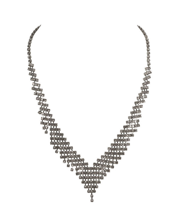 Crystal Pave Necklace, Clear/Rhodium, hi-res