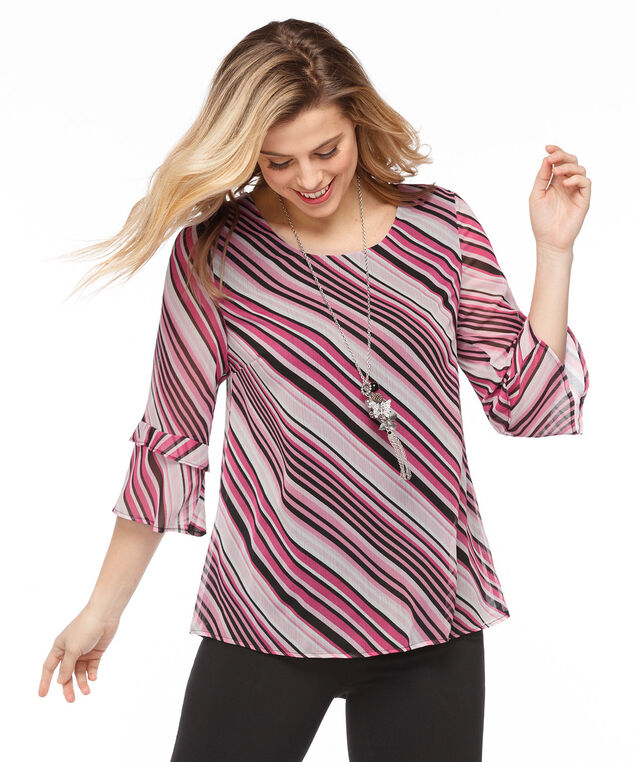 Flounce Sleeve Striped Blouse, Pink Stripe, hi-res