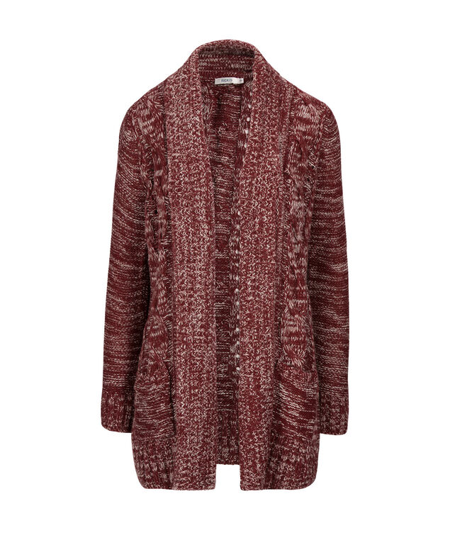 Cable Open Cardigan, Cranberry, hi-res