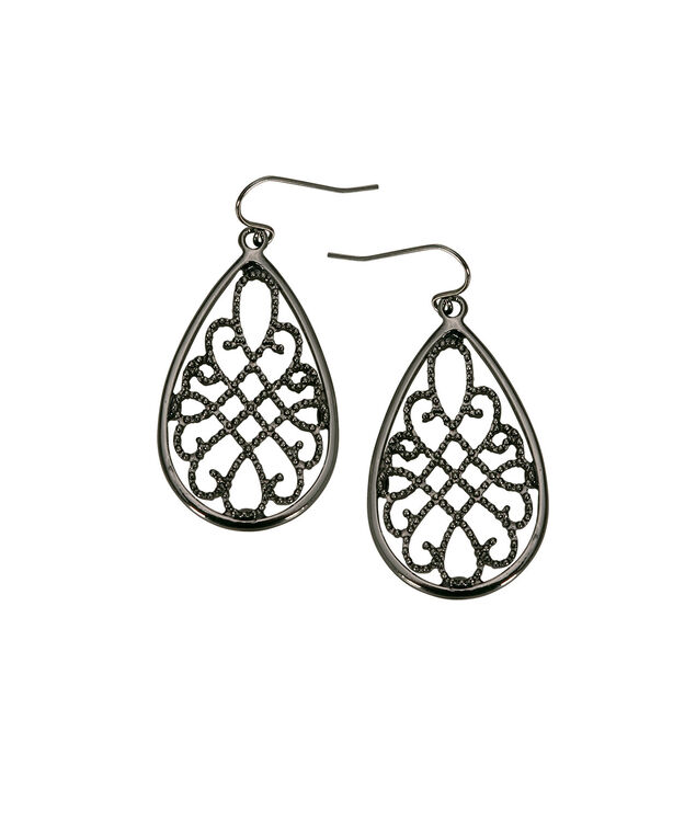 Filigree Teardrop Earring, Hematite, hi-res