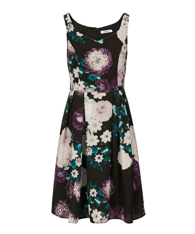 Sweetheart Neck Floral Print Dress, Black/Purple/Teal, hi-res