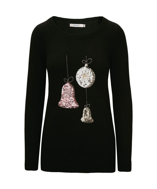 Festive Ornaments Pullover Sweater, Black/Pale Pink/Silver, hi-res