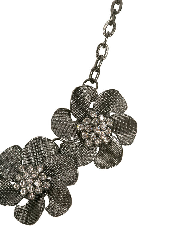 Metal Floral Statement Necklace, Clear/Hematite, hi-res