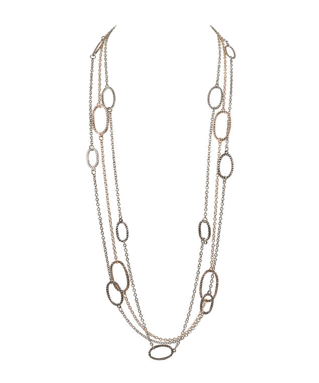 Multi-Strand Stationed O-Ring Necklace, Rhodium/Rose Gold, hi-res