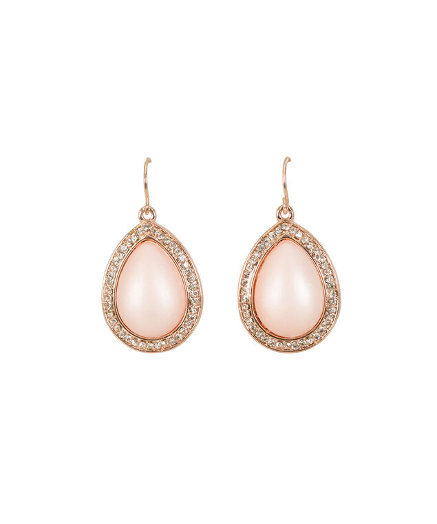 Pink Stone Teardrop Earring, Soft Pink/Rose Gold, hi-res