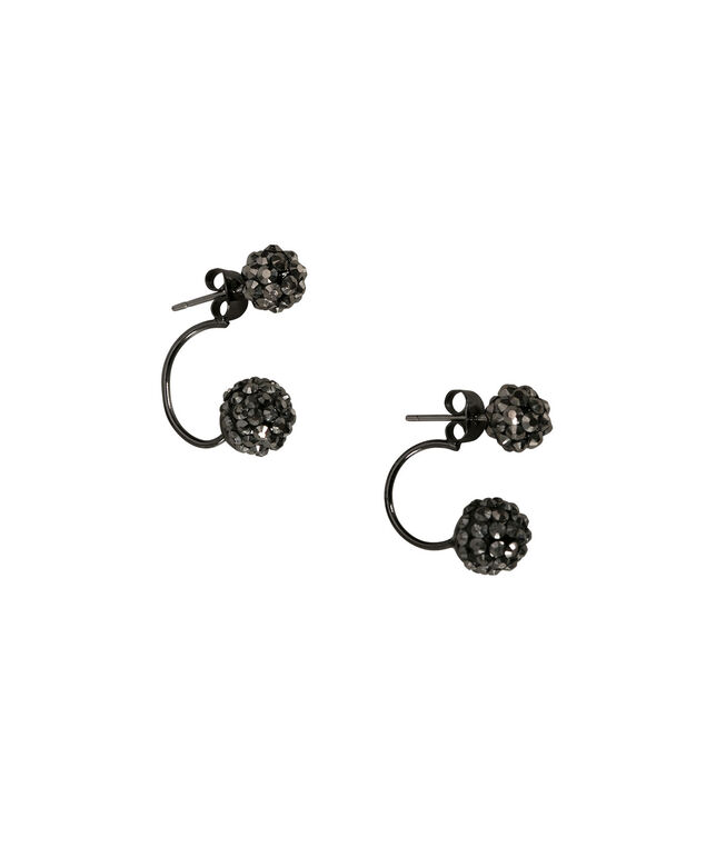 Pave Front Back Earring, Hematite, hi-res