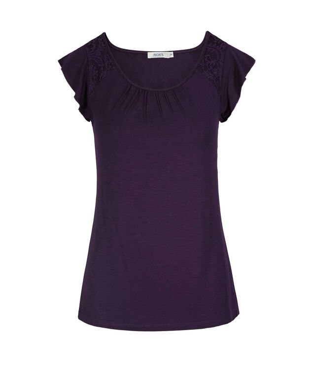 Flutter Sleeve Top, Dark Purple, hi-res