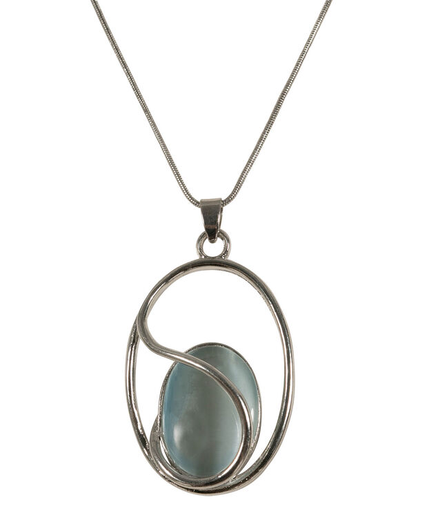 Frosted Blue Swirl Cateye Necklace, Frosted Blue/Rhodium, hi-res