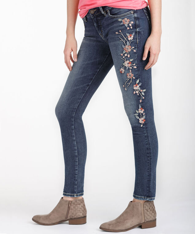 Silver Jeans Co. Elyse Embroidered Skinny Jean, Medium Marble Wash, hi-res