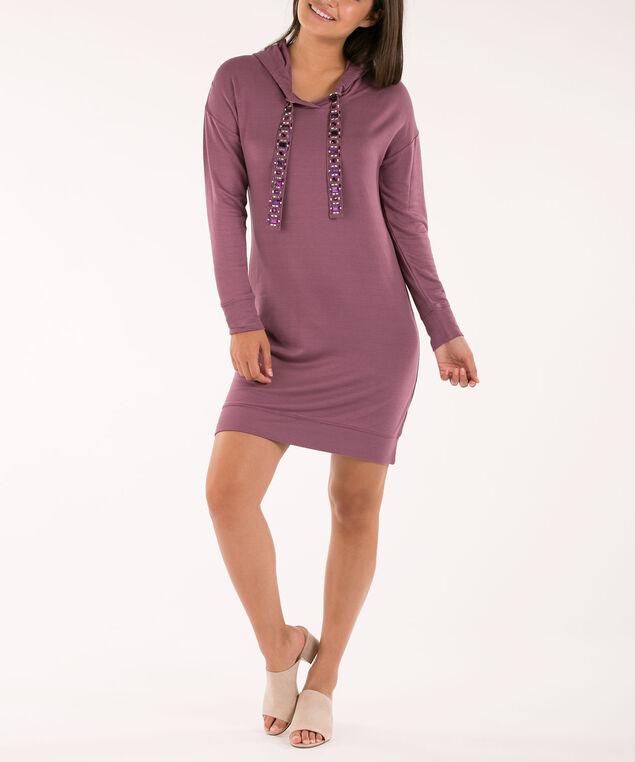 Hooded Sweatshirt Dress, Purple, hi-res