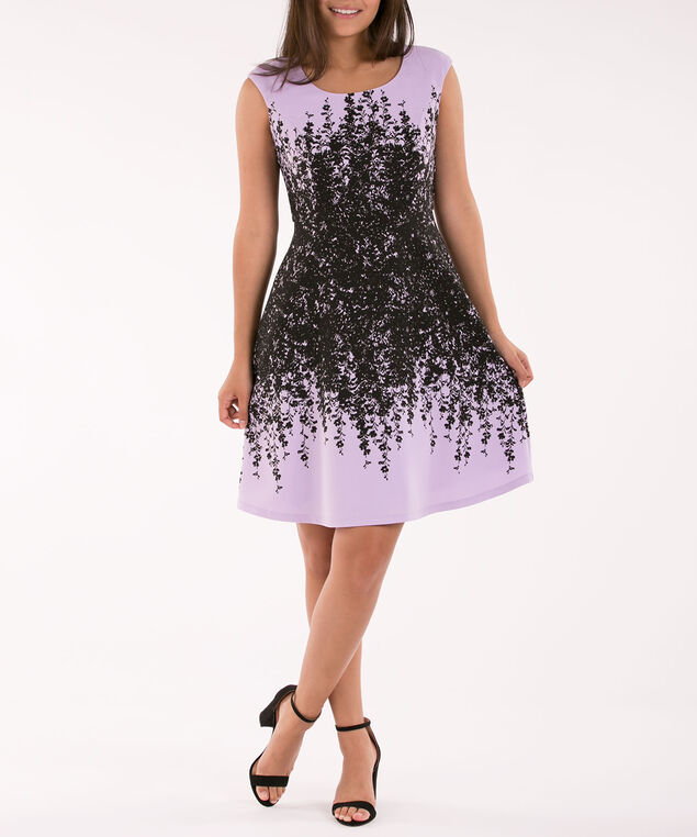 Placement Print Sleeveless Dress, Iced Violet/Black, hi-res