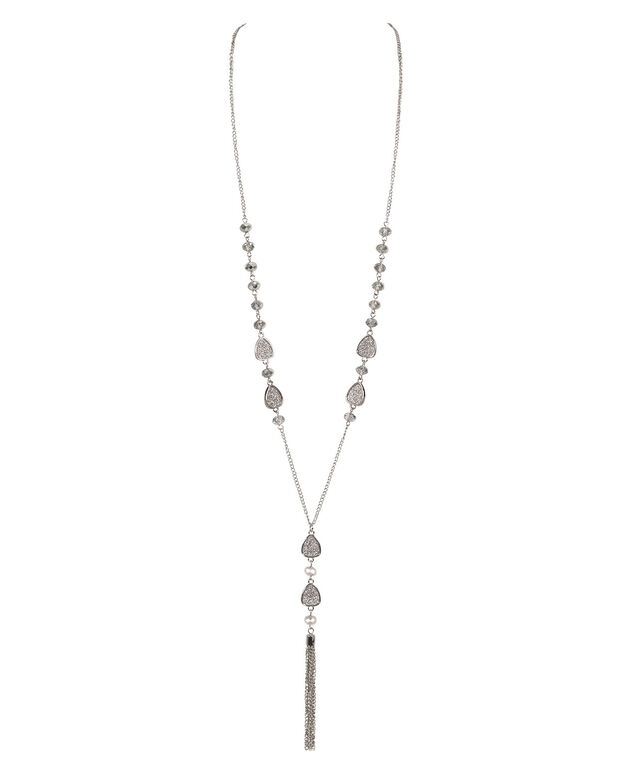 Glitter Paper & Faceted Stone Station Long Y-Necklace, Silver/Rhodium, hi-res