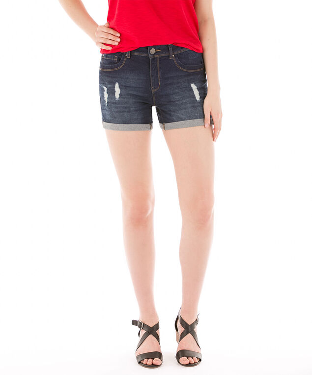 Mid Wash Roll Cuff Denim Short, Mid Wash, hi-res