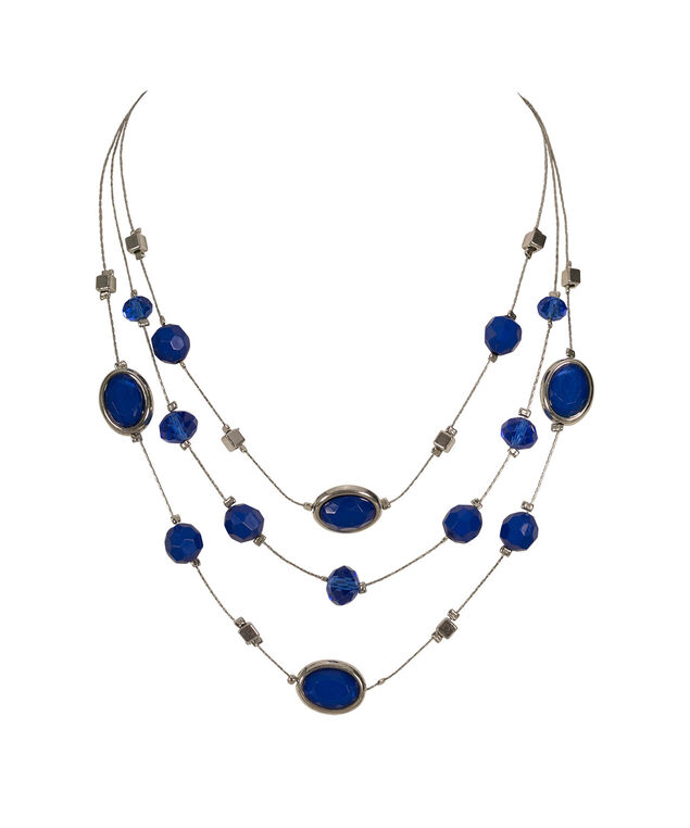 Multi-Row Stationed Bead Necklace, Blue/Rhodium, hi-res