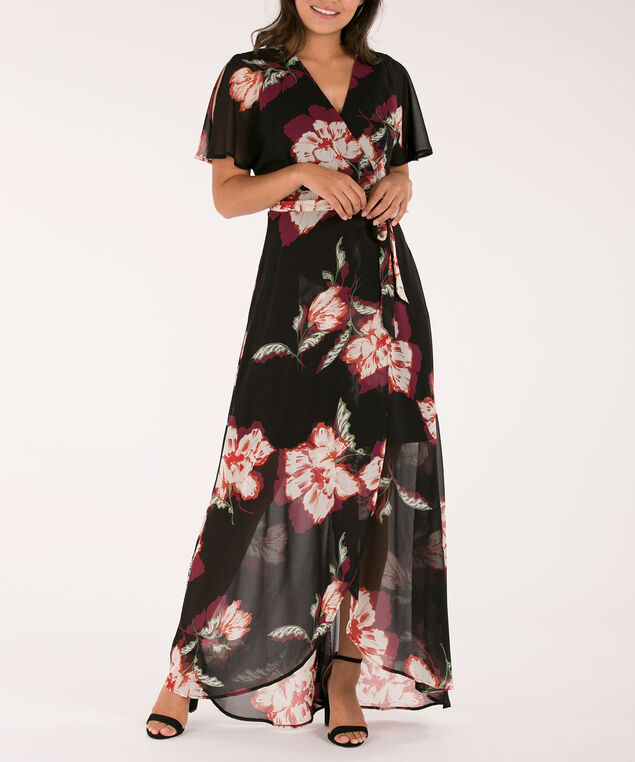 RUFFLE FRONT FAUX-WRAP MAXI DRESS, Black/Port/Olive, hi-res
