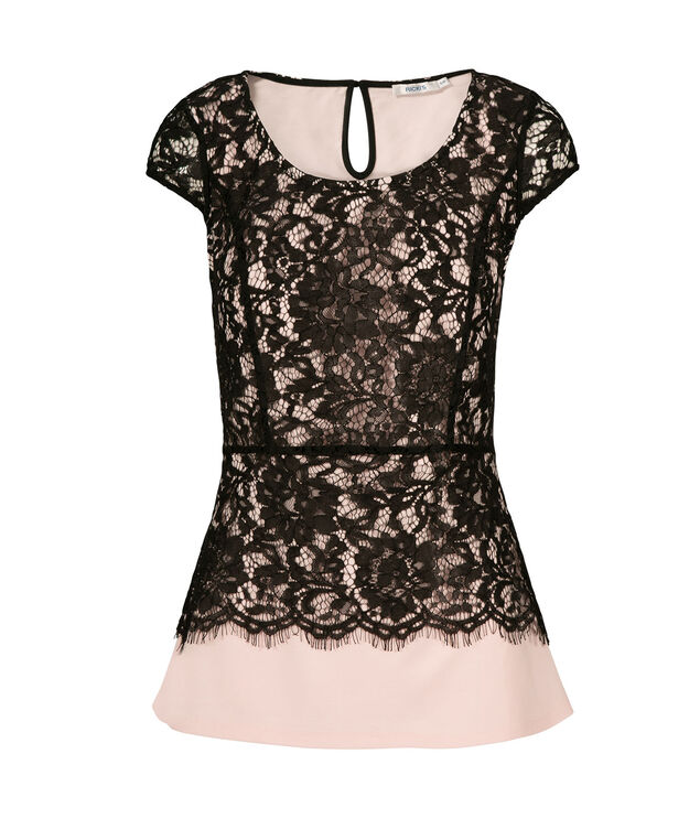 Extend Sleeve Lace Top, Black/Blush, hi-res