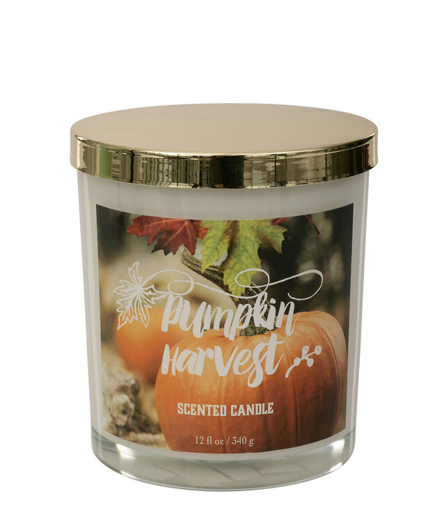 Pumpkin Harvest Scented Candle, Gold/White, hi-res