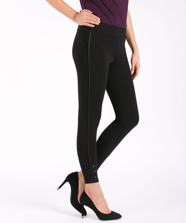 Luxe Ponte Button Bottom Legging, Black, hi-res