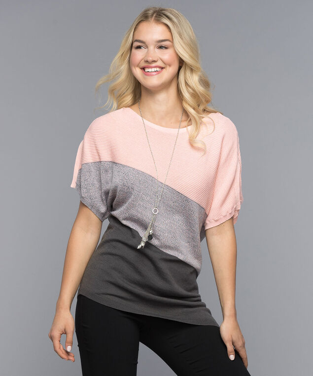 Asymmetrical Ribbed Pullover, Misty Pink/Charcoal, hi-res