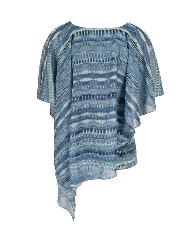 Asymmetrical Cape Overlay Top, Blue Pattern, hi-res