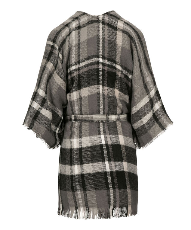 PLAID PATTERN BELTED RUANA, Grey Mix, hi-res