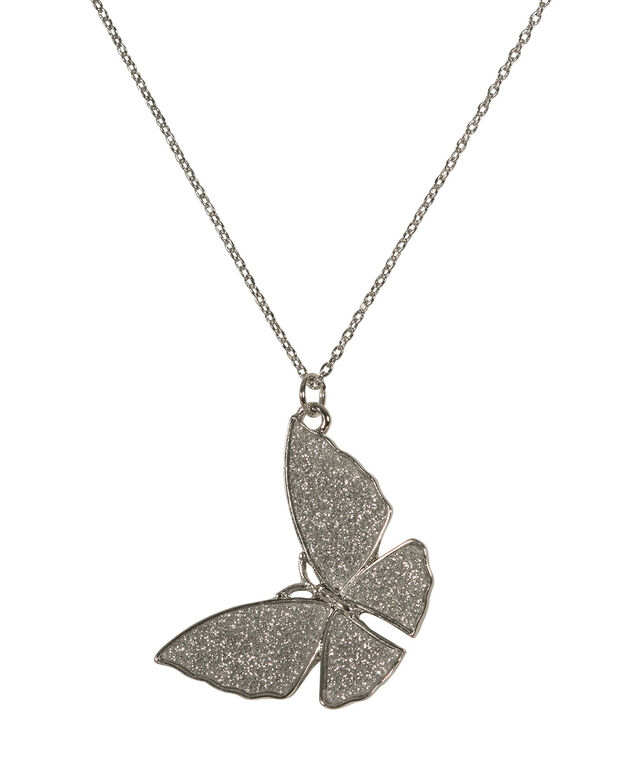 Glitter Butterfly Pendant Necklace, Rhodium, hi-res