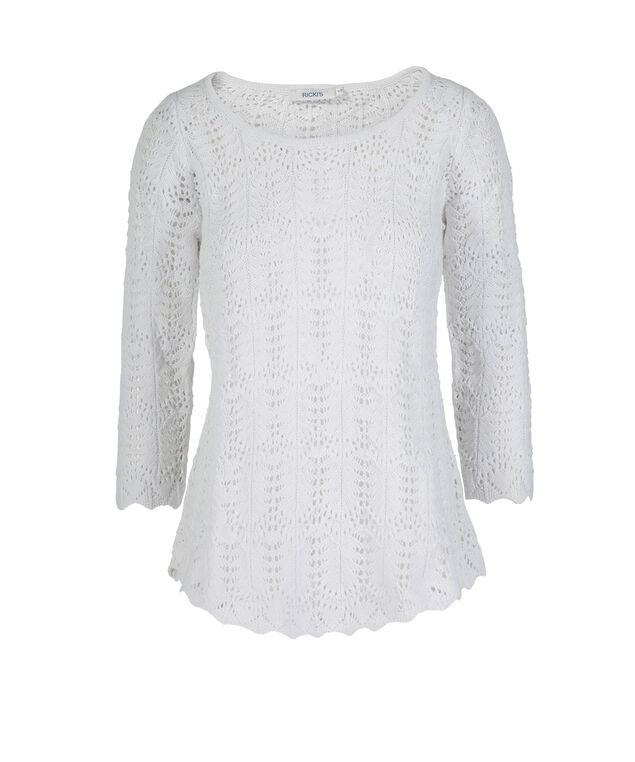 Pointelle Pullover Sweater, True White, hi-res