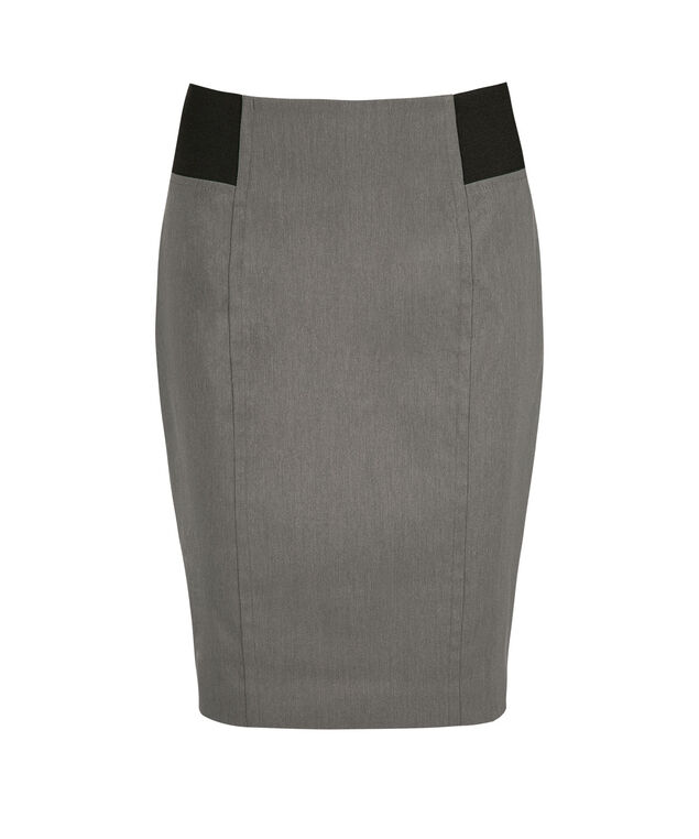 Microtwill Elastic Detail Pencil Skirt, Heather Grey, hi-res