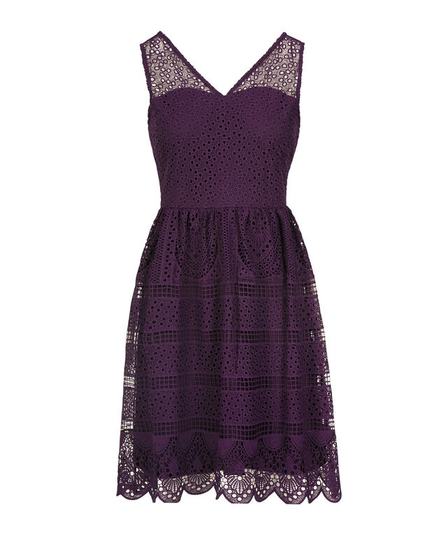 Scalloped Hem Crochet Overlay Dress, Deep Purple, hi-res