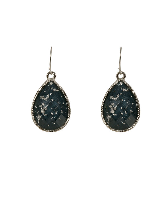 Glitter Stone Earring, Deep Teal/Burnished Silver, hi-res
