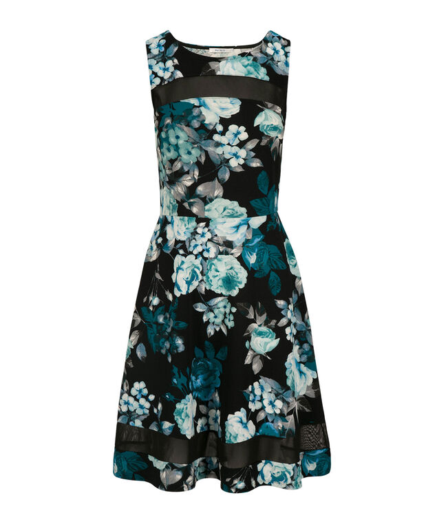 Illusion Neck Fit and Flare Dress, Blue Print, hi-res