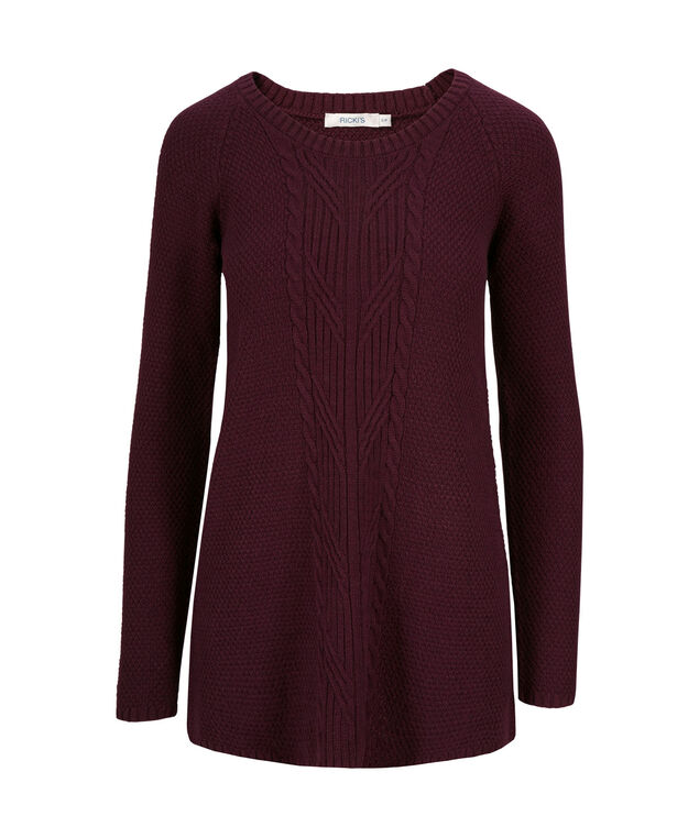 Cable Front Tunic Pullover, Wineberry, hi-res