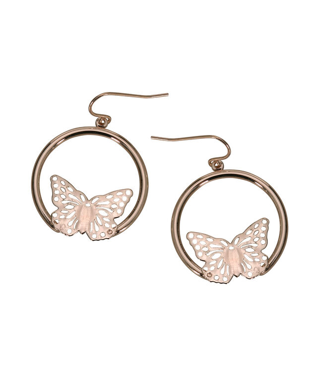 Butterfly Hoop Earring, Soft Rose Gold, hi-res