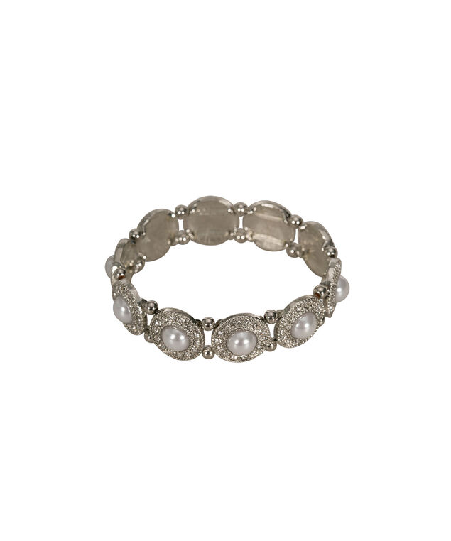 Pearl & Crystal Disc Stretch Bracelet, Clear/White/Rhodium, hi-res