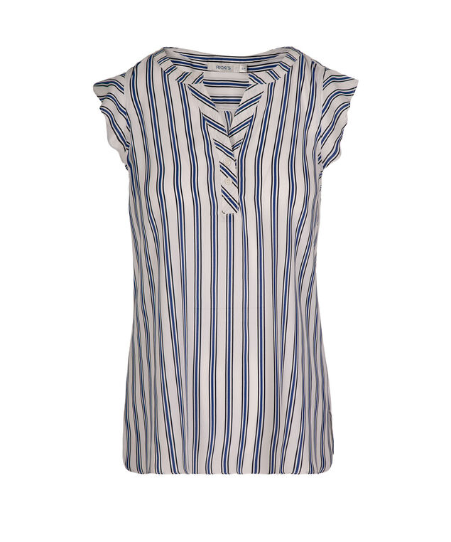 Flutter Sleeve Henley Blouse, White/Blue/Black, hi-res