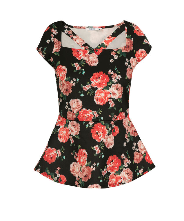 Floral Cut Out Peplum Top, Black Pattern, hi-res